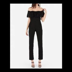 Express Off The Shoulder Lace Bodice Jumpsuit 8